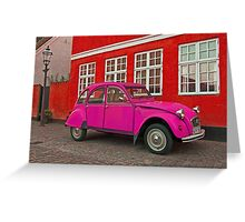 Pink Citroen 2CV Greeting Card