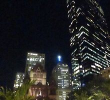 John Hancock & Trinity Church at Night by RPBURCH  by Richard  Burchell