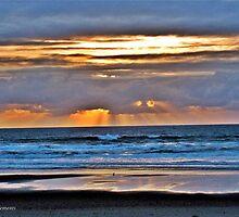 SUN BEAMS AT SUNSET by Rhonda R Clements