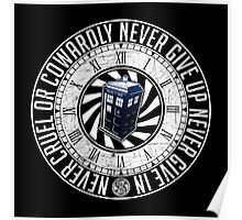 Never Cruel Or Cowardly - Doctor Who - TARDIS Clock Poster