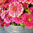 Pink Flowers in a Pail 791 by NiftyGaloot