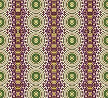 Purple, Green and Gold Abstract Design Pattern by Mercury McCutcheon