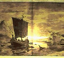 A digital painting of The Discovery of Greenland by Dennis Melling