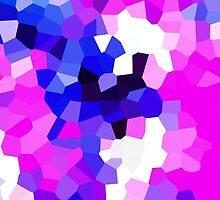 Mask Pink Abstract Pixel Digital Crystal Art by 7RayedDesigns