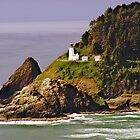 Lighthouse On The Bluff by Kat Miller