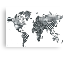 Patterned World Map Canvas Print