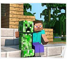 Steve and Creeper - Minecraft Poster