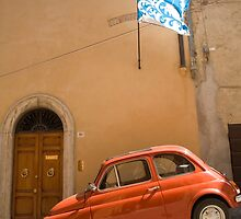 Old Fiat parked in Montepulciano street by Ian Middleton