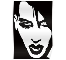 Stencil Marilyn Manson Face Poster
