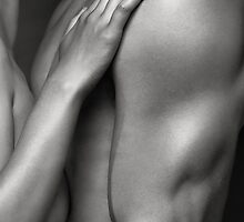 Closeup of Naked Woman and Man Body Parts art photo print by ArtNudePhotos