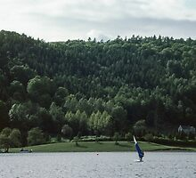 Windsurfer Bowness Lake District England 198405210010 by Fred Mitchell