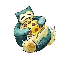 Pokemon pizza party- Snorlax Photographic Print