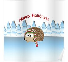 Happy Holidays! Winter Hedgehog Poster