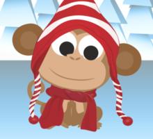 Happy Holidays! Winter Monkey Sticker