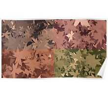 Fall Autumn Leaves 4 Color Design Pattern Poster