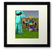 Minecraft Fight Scene Framed Print