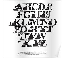 Alphabet zoo black and white Poster