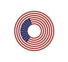 American Flag, Stars & Stripes, USA, American, Americana, Circle by TOM HILL - Designer