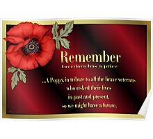 Remember Veterans Poppy Poster