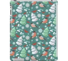 Winter birds blue pattern iPad Case/Skin