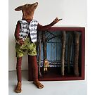 Peter and the Wolf - art doll sculpture mixed media art by LindaAppleArt
