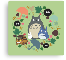 Green Totoro Wreath - My Neighbor Totoro Canvas Print