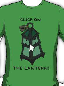 """Thresh - """"CLICK ON THE LANTERN!"""" - BLACK TEXT/LIGHT SHIRTS T-Shirt"""