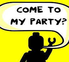 """""""COME TO MY PARTY?"""" Invitation  by Customize My Minifig"""