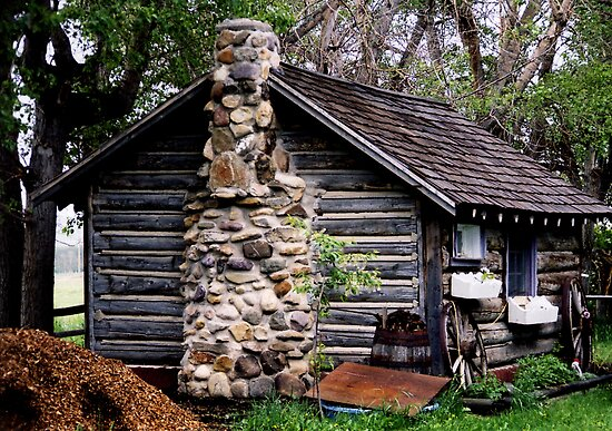 Rustic Log Cabin by Al Bourassa