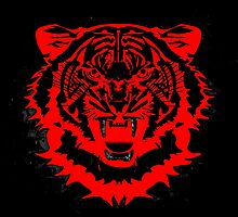 Snarling Arty Tiger Artwork in Blacks and Reds by Val  Brackenridge