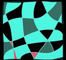 Aquamarine and black abstract blocks by ackelly4