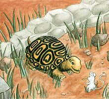 Turtle and Mouse Watercolor by 57MEDIA
