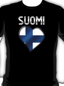 Suomi - Finnish Flag Heart & Text - Metallic T-Shirt