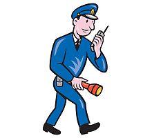 Policeman Torch Radio Cartoon by patrimonio