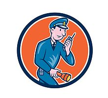 Policeman Torch Radio Circle Cartoon by patrimonio