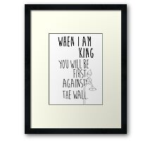 """When I am King, you will be first against the wall."" Radiohead - Dark Framed Print"