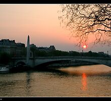 Seine at sunset by Georgi Bitar