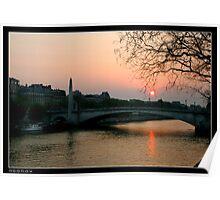 Seine at sunset Poster