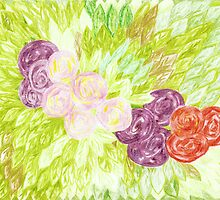 circular roses and leaves by candace lauer
