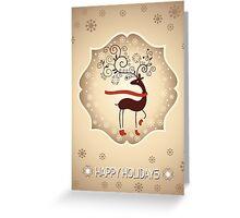 Elegant Reindeer Christmas Card - Happy Holidays Greeting Card