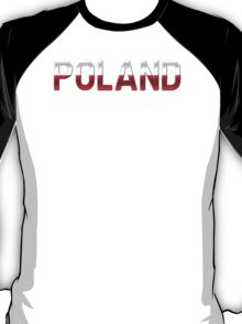 Poland - Polish Flag - Metallic Text T-Shirt
