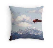 Dehaviland Beaver Flying over the Alaska Range Throw Pillow