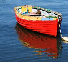 red dinghy with reflection by Barry Culling
