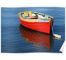 red dinghy with reflection Poster