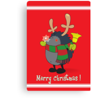 Rudolph the Red Nosed Hedgehog wishes You a Merry Christmas! Canvas Print