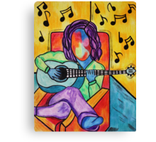 Lounge Music - Oil Pastels on Mixed Media Paper Canvas Print