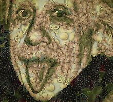 Albert Einstein Sticking His Tongue Vegetables Art by Eti Reid