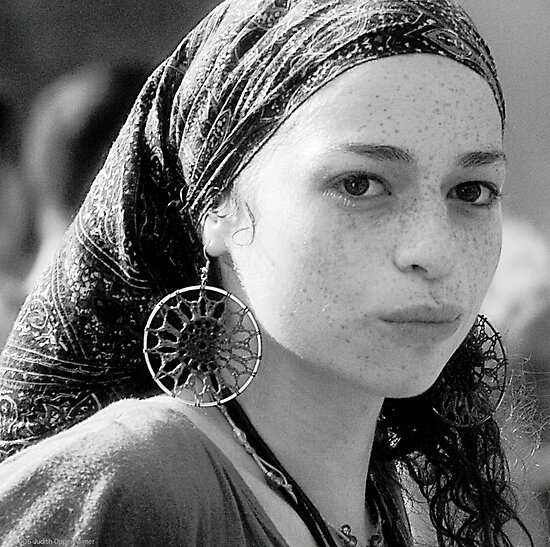 Gypsy Eyes - Portrait in Black and White  by Judith Oppenheimer