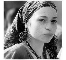 Gypsy Eyes - Portrait in Black and White  Poster