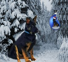 GERMAN SHEPHERD OUT IN SNOW PILLOW AND OR TOTE BAG by ✿✿ Bonita ✿✿ ђєℓℓσ